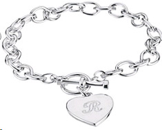 Engraveable Toggle Heart Charm Bracelet in Sterling Silver