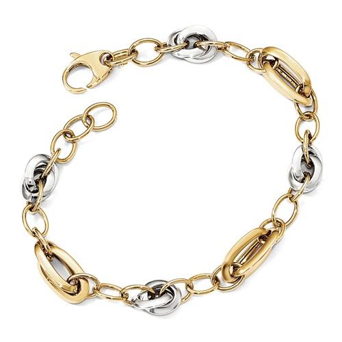 Italian Design Link Bracelet for Women in 14K Two-Tone Gold