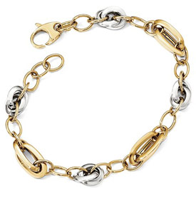 Italian Design Link Bracelet for Women in 14K Two-Tone Gold