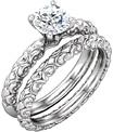 Sculptural-Designed 3/4 Carat Diamond Bridal Wedding Ring Set