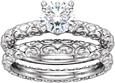 Sculpted Bridal Engagement Wedding Ring Set, 1/2 Carat