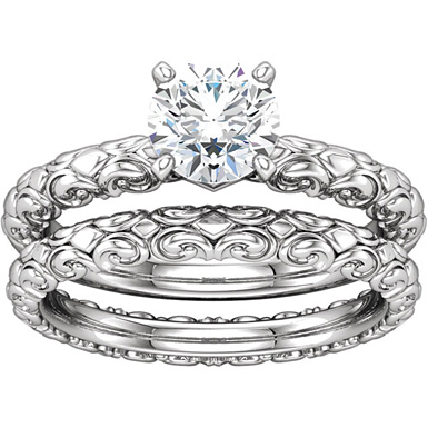 Sculpted Bridal Engagement Wedding Ring Set, 1/2 Carat