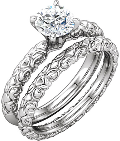 Sculptural-Designed 3/4 Carat Diamond Bridal Wedding Ring Set