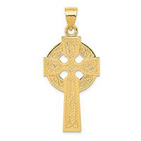 14k gold celtic trinity knot cross pendant for men