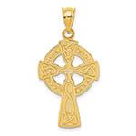 medium 14k gold celtic knot cross pendant