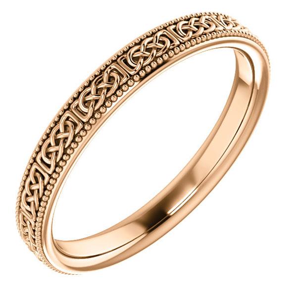 14K Rose Gold Women's Celtic Wedding Band Ring