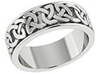14K White Gold Wide Celtic Knot Wedding Band Ring