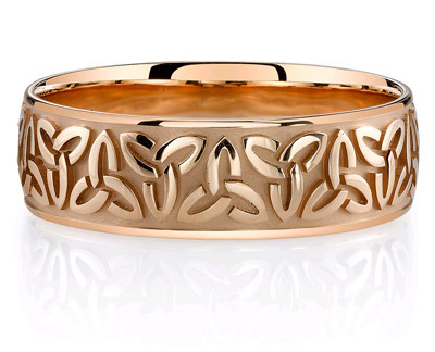 14K Rose Gold Celtic Trinity Wedding Band Ring