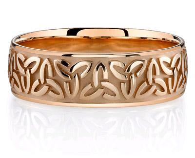 14K Rose Gold Celtic Trinity Wedding Band Ring
