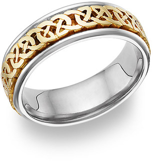 Celtic Knot Wedding Band Ring 14K Gold and Silver