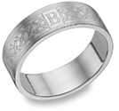 Custom Celtic Engraved Initial Wedding Band Ring