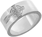 Men's Engraved Celtic Cross Wedding Band Ring, 14K White Gold