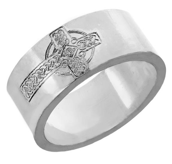 Mens Engraved Celtic Cross Wedding Band Ring 14K White Gold