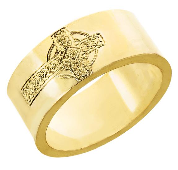 Etched Celtic Cross Wedding Band Ring for Men