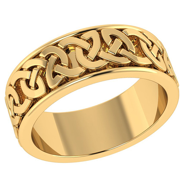 Handmade 14K Gold Wide Celtic Wedding Band Ring for Men or Women