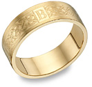 Personalized Engraved Celtic Initial Wedding Band Ring, 14K Gold