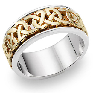 Celtic Wedding Band Ring in 14K Gold and Silver