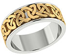 Wide 14K Two-Tone Gold Celtic Wedding Band Ring
