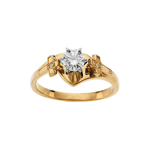 1/2 Carat Diamond Christian Cross Engagement Ring, 14K Yellow Gold