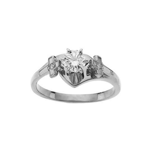 1/2 Carat Diamond Cross Engagement Ring, 14K White Gold