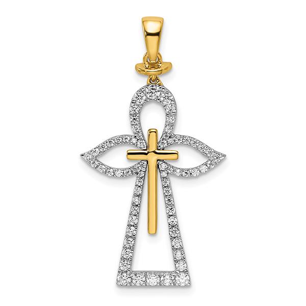 1/2 Carat Diamond Angel Pendant with Cross, 14K Two-Tone Gold