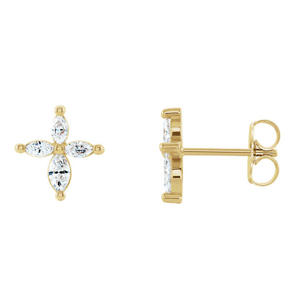 1/3 Carat Diamond Marquise Cross Stud Earrings in 14K Gold