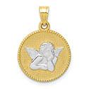 10K Two-Tone Gold Beaded Angel Pendant