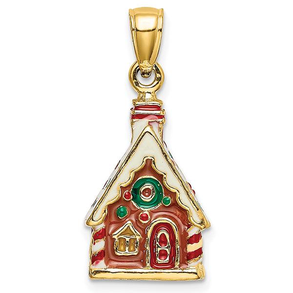 14K Gold 3D Enameled Gingerbread House Charm Pendant