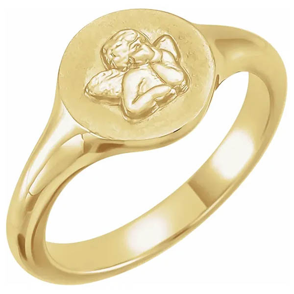 14K Gold Women's Angel Pinky Ring