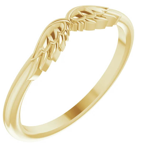 14K Gold Angel Wings Stackable Ring