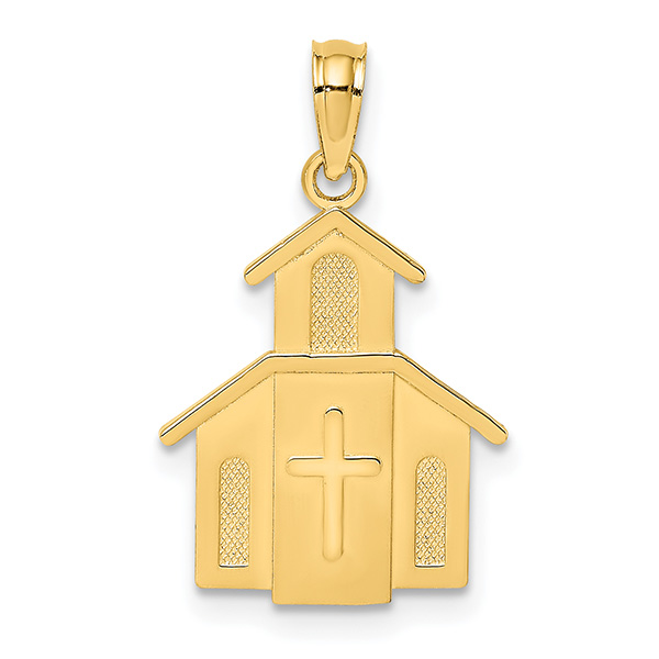 14K Gold Church Pendant with Cross