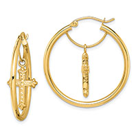 14K Gold Cross Dangle Hoop Earrings