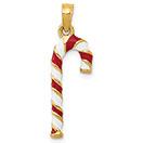14K Gold Enameled Candy Cane Charm Pendant