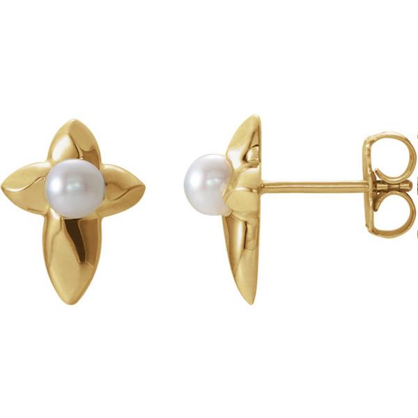 14K Gold Freshwater Pearl Cross Earrings