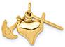 14K Gold Heart, Cross, Anchor Pendant