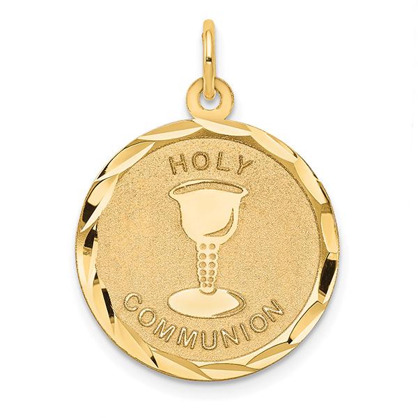 14K Gold Holy Communion Disc Pendant