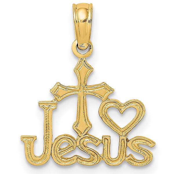 14K Gold I Love Jesus Cross and Heart Pendant