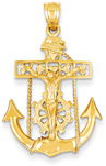 Mariner Anchor Cross Pendant in 14K Gold