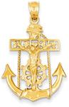 Mariner Anchor Cross Pendant in 14K Gold
