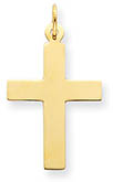 14K Gold Polished Plain Cross Pendant for Men