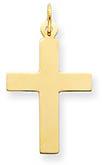 14K Gold Polished Plain Cross Pendant for Men