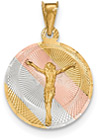 14K Gold Tri-Color Corpus Crucifix Disc Pendant