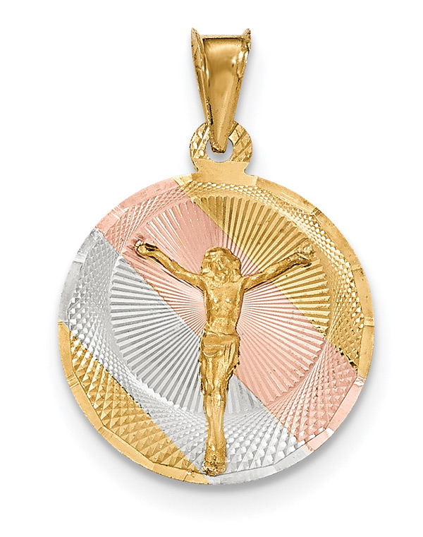 14K Gold Tri-Color Corpus Crucifix Disc Pendant