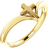 14K Gold Women's Cross V Ring