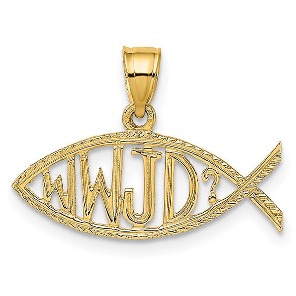 14k Gold WWJD Ichthus Pendant
