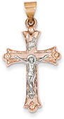 14K Rose and White Gold Crucifix Necklace