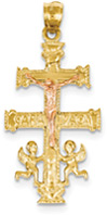 14K Rose and Yellow Gold Caravaca Cross Pendant