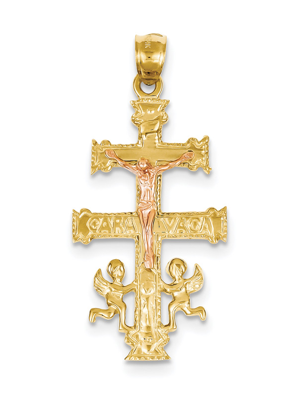 14k rose and yellow gold caravaca cross pendant mozeypictures Choice Image