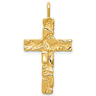 14K Gold Nugget Cross Pendant with Flat Back