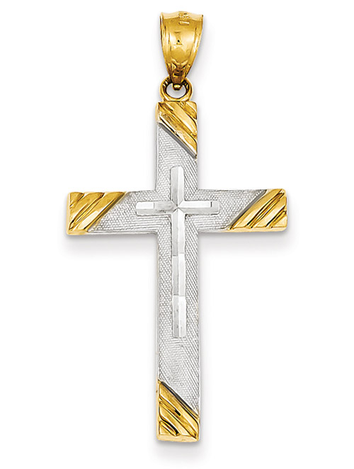 14K Two-Tone Gold Diamond-Cut Cross Pendant